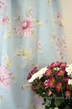 Landhaus Vorhang Gardine Lily 2x140x250 cm Set Deko Schal Blüten Shabby Curtain
