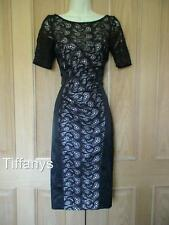 KAREN MILLEN BLACK SATIN AND LACE DRESS UK 10 BNWT