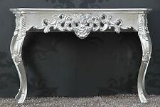 Konsole Wandtisch SILBER Antik-Finish Luxuriös prunkvoll Sideboard Barock Rokoko