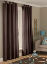 """Long Drop Curtain 90"""" x 90"""" Inch Chocolate Faux Silk Fully Lined Eyelet Curtains"""