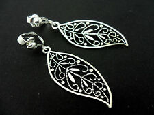 A PAIR OF TIBETAN SILVER LONG LEAF THEMED DANGLY CLIP ON EARRINGS. NEW.
