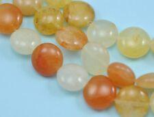 12mm Peach Tan Lemon Cream Mixed Colour Agate Semi-precious Gemstone  Coin Beads