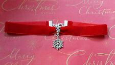 Red velvet choker necklace with snowflake pendant gothic Christmas party