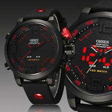 OHSEN Mens Military Day Dual Display Red Digital Analog Light Quartz Wrist Watch