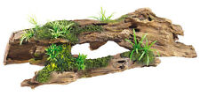 Classic Aquarium Ornament Driftwood Log & Plants Vivarium Decoration