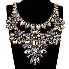 Fashion Hand Nail White Gold Gems Rhinestone Flowers New Big Bib Choker Necklace