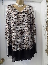 "New Ladies ""Marina Kaneva"" Animal Print Long Tunic Top, Plus size 22-24"