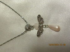 Set -Pendant & Earrings - Pink Angel - Pink Shell Pearl, jade & Tibetan Silver