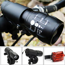2 CREE Q5 LED Mountain Bike Bicycle Cycling Zoomable Head Front Lamp Torch Light