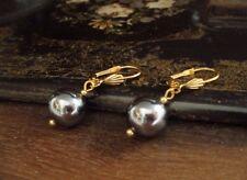 Vintage Jewellery Grey Round Pearl Drop Hook Pierced Earrings