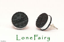 Black Mini Oreo Biscuit Silver Plated Stud Earrings Food Jewellery Kitsch Retro