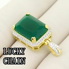 925 STERLING SILVER JADE STONE GOLD PENDANT 7g R432