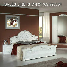 STELLA ITALIAN DIAMANTE CRYSTAL WHITE/SILVER 6 ITEM BEDROOM SET