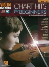 Violin Play-Along Chart Hits For Beginners Learn to Play EASY FIDDLE MUSIC BOOK