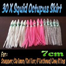 "30X 2.5"" 7cm Soft Octopus Squid Skirt Trolling Jig Lure 3 Colors Snapper Salmon"
