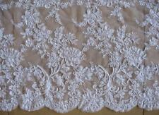 1 Yard Floral Embroidered White Lace Fabric Bridal Wedding Eveningh Dress