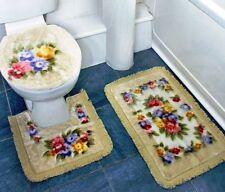 3 Piece Beige Floral Non Slip Bath & Pedestal Bathroom Mat Set & Toilet Cover