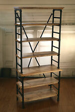 EX-DISPLAY French Industrial Metal Bookcase / Shelving Storage Unit 200cms High