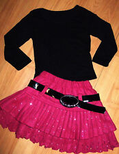 GIRLS BLACK TOP & PINK SPARKLE PRINT WOOLLY WINTER OCCASION PARTY SKIRT age 9-10
