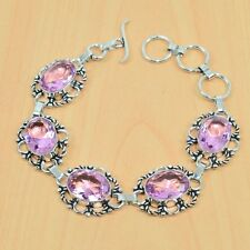 "925 STERLING SILVER PLATED FACETED PINK QUARTZ BRACELET JEWELRY 7.5L"" V03810"
