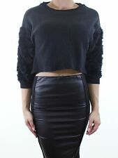 TOPSHOP black textured heavy jersey crop blouse with faux fur sleeves size 8 36