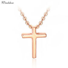 """18K Rose Gold GF Small Cross Charm Pendant Choker Thin Rolo Chain 18"""" Necklace"""