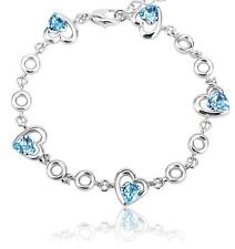 New Silver 5 Love Hearts  Bracelet Aquamarine Blue Swarovski Crystals Jewelry