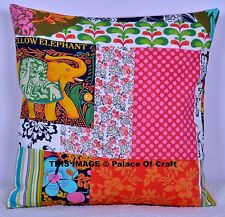 Indian Cushion Cover New Hand Printed Patchwork Look Cotton Pillow Case Decor