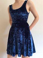 Topshop Size 8 Blue VELVET Skater Dress mini short  fit flare flippy Small XS