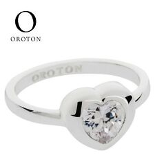 Genuine OROTON Heart Jive Ring Cubic Zirconia CZ Size LARGE 8 P Rhodium Silver