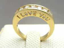 """I LOVE YOU"" LAD DIAMOND 14Ct 9CT YELLOW GOLD GF WEDDING ENGAGEMENT RING 8 & Q"