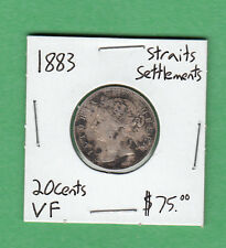 1883 Straits Settlements - 20 Cents Silver Coin - Very Fine