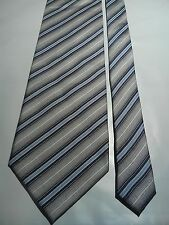 Pierre Balmain Men's Vintage Silk Tie in a Blue Silver Grey and Black Stripe