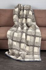 BLANKET 160X220cm CHEQUERED WOOL MERINO PURE WARM SOFT NATURAL THROW BEDSPREAD