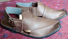 Mens Peshawari Handmade Pak Leather Chappal Dark Brown Eid Sandal UK size 9