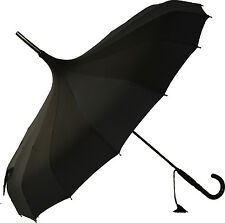 Blooming Brollies Boutique Plain Pagoda Stick Umbrella - Black