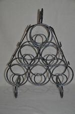Design Weinflaschenregal Metall mit Blättern aus Glas für 6 Flaschen Top Zustand
