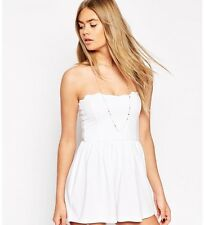 New With Tags ASOS Bandeau Playsuit Size 10 - White - Scallop Edge Romper Onesie