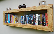 Wall cube floating shelf rustic reclaimed storage bookcase dvd display unit wood