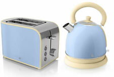 Swan Blue Retro Dome Kettle 1.8 Litre and Blue Retro Toaster 2 Slice