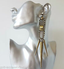 Gorgeous LONG vintage - GOLD tone BIG punk spike & chain crystal drop earrings