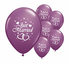 """8 JUST MARRIED PURPLE 12"""" HELIUM QUALITY PEARLISED WEDDING BALLOONS (PA)"""
