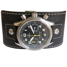 22mm EULIT Black Buffalo Grain Leather Riveted Military Cuff Watch Band Strap