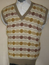 Mens Hand Knitted 1940s Style 100% Lambswool Tank Top