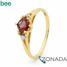 New Diamond Ruby 9k 9ct Solid Yellow Gold Solitaire with Accents Rings 25219/CR