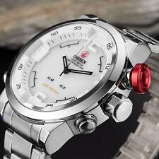 OHSEN Weiss Analog Digital Edelstahl Quarz Armband Herren Damen Wasserdicht Uhr
