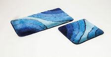 """2 teiliges Badematten Set, Badgarnitur,"""" Wave"""", blau Badteppich"""