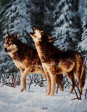 KUSCHELDECKE Tagesdecke Wohndecke Decke Plaid Motiv Winterwolf / Wolf 160x200cm