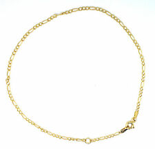 9ct Yellow Gold 3+1 Figaro Chain Link Anklet/ Ankle Chain                   0095