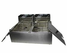 FoxHunter Stainless Steel Commercial Twin Basket Electric Deep Fryer 20L Chip